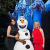 "Tony Award-winning actress Idina Menzel (left) and fellow ""Frozen"" star Kristen Bell join Olaf just moments before performing on the steps of Sleeping Beauty Castle at Disneyland Park in Anaheim, Calif., Tuesday, Nov. 14, 2017, for a taping of ""The Wonderful World of Disney: Magical Holiday Celebration."" The duo will appear singing together for the first time on primetime television, Thursday, Nov. 30, 9-11p.m. ET, on The ABC Television Network. (Matt Petit, photographer)"
