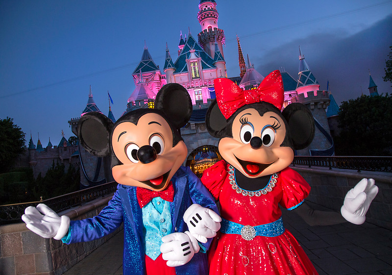 Mickey and Minnie in front of Sleeping Beauty Castle for #Disneyland60