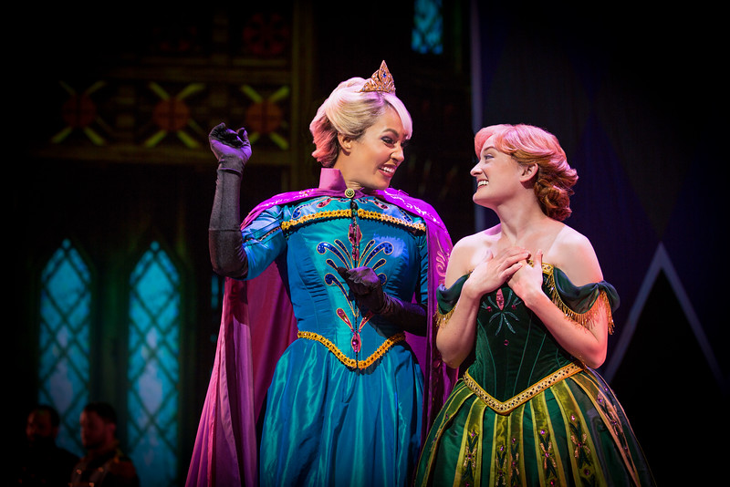 ANNA AND ELSA IN 'FROZEN Ð LIVE AT THE HYPERION' -- A new theatrical interpretation for the stage based on DisneyÕs animated blockbuster film, Frozen is now playing at the Hyperion Theater at Disney California Adventure Park. The show immerses audiences in the emotional journey of Anna and Elsa with all of the excitement of live theater, including elaborate costumes and sets, stunning special effects and show-stopping production numbers.(Piotr A. Redlinski/Disneyland Resort)