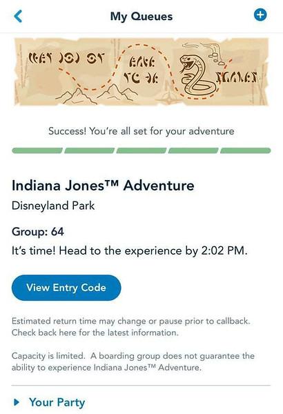 indiana jones adventure disneyland virtual queue boarding group process screenshot (5)
