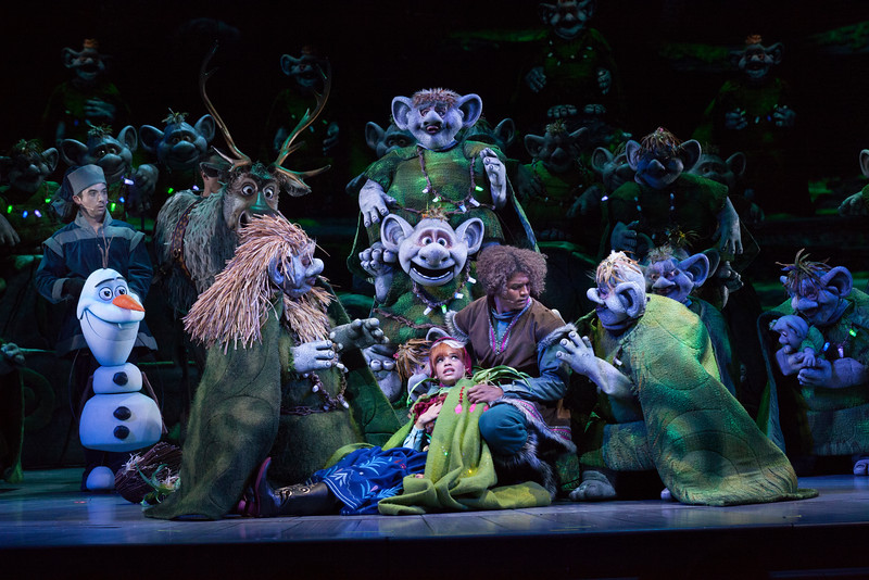KRISTOFF TAKES ANNA TO THE TROLLS IN 'FROZEN – LIVE AT THE HYPERION' -- A new theatrical interpretation for the stage based on Disney's animated blockbuster film, Frozen is now playing at the Hyperion Theater at Disney California Adventure Park. The show immerses audiences in the emotional journey of Anna and Elsa with all of the excitement of live theater, including elaborate costumes and sets, stunning special effects and show-stopping production numbers. (Scott Brinegar/Disneyland Resort)