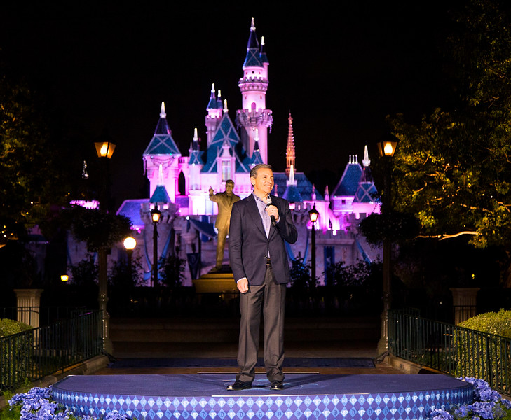 BOB IGER KICKS OFF DISNEYLAND DIAMOND CELEBRATION  (May 21, 2015) - Bob Iger, Chairman and Chief Executive Officer, The Walt Disney Company, welcomes guests to the premieres of 'Paint the Night,' an all-new electrical parade, and 'Disneyland Forever' fireworks spectacular at the Disneyland Resort in Anaheim, Calif. Both spectaculars commemorate the Diamond Celebration at the Disneyland Resort, which begins May 22, 2015. (Paul Hiffmeyer/Disneyland)