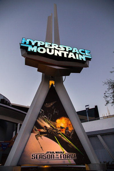 HYPERSPACE MOUNTAIN -- During Season of the Force, the classic Space Mountain attraction is reimagined as Hyperspace Mountain, thrusting Disneyland park guests into the darkness for an action-packed battle between Rebel X-wings and Imperial TIE fighters. A new soundtrack, inspired by the films' musical themes, adds to the thrills. (Paul Hiffmeyer/Disneyland Resort)