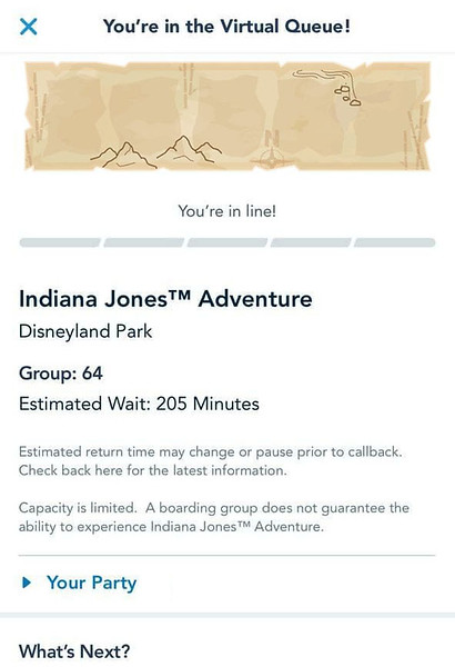 indiana jones adventure disneyland virtual queue boarding group process screenshot (2)