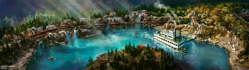 RIVERS OF AMERICA -- As part of an ongoing, planned expansion at the Disneyland Resort in Anaheim, Calif., the Rivers of America at Disneyland Park will receive a brand-new waterfront, just outside the location of the new Star Wars-themed land. The new riverbank will also feature an elevated trestle over which the iconic Disneyland Resort Railroad will travel. (Disney Parks)