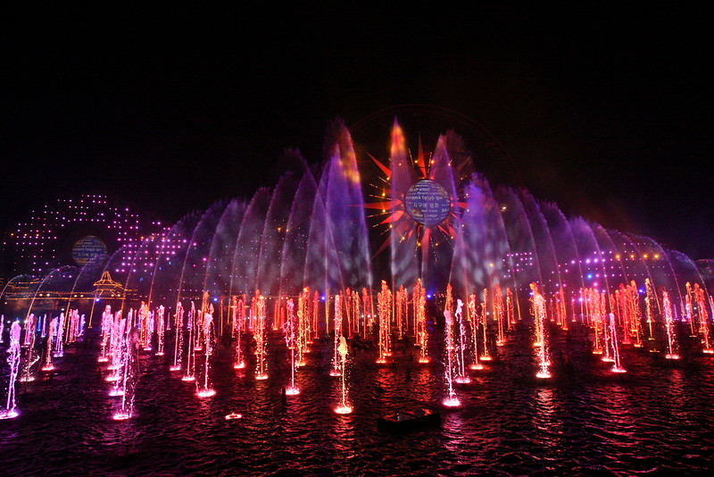 "WORLD OF COLOR - SEASON OF LIGHT -- ""World of Color - Season of Light"" brings the warmth and heartfelt spirit of the holidays to this stunning, nighttime water spectacular, with its 1,200 powerful fountains shooting water as high as 200 feet to help tell the story. The show's musical soundtrack features some well-known musical artists performing popular holiday tunes, including ""Let it Snow""by Dean Martin and ""Baby, It's Cold Outside"" by Michael Buble and Idina Menzel. With classic holiday music, humor and memorable moments from Disney animated films, this becomes an ideal way for guests to conclude their holiday visit. (Scot Brinegar/Disneyland)"