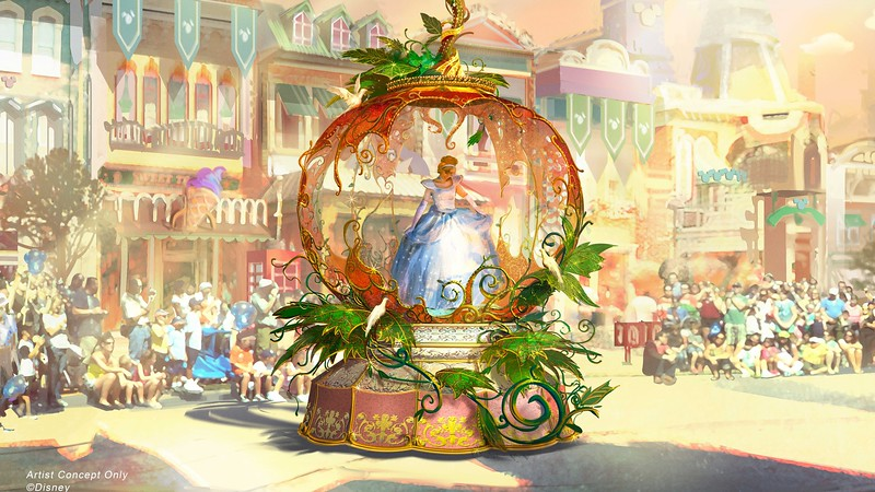 New concept art for MAGIC HAPPENS parade at Disneyland teases Tiana/Naveen, Cinderella, Merlin/Arthur