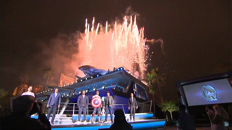 avengers campus grand opening fireworks ceremony