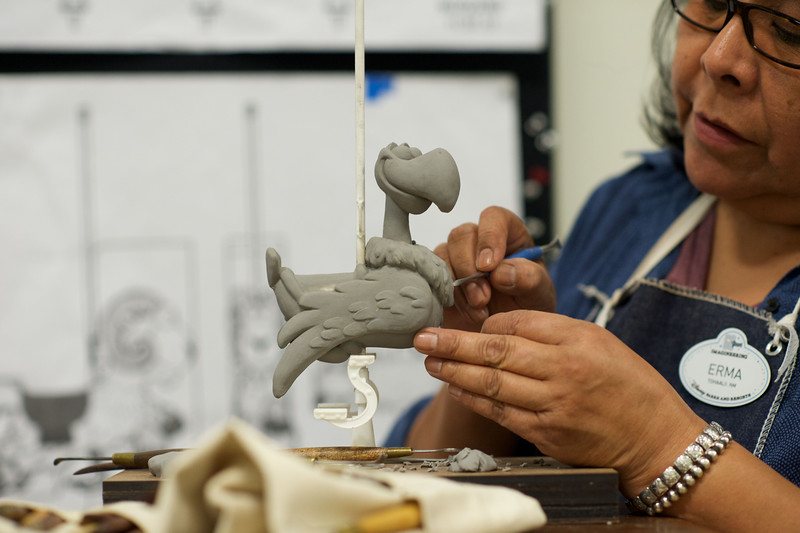 """MAQUETTE SCULPTING BY WALT DISNEY IMAGINEERS FOR JESSIE'S CRITTER CAROUSEL – Walt Disney Imagineers sculpt maquettes for Jessie's Critter Carousel, a new attraction coming to Pixar Pier at Disney California Adventure park. Inspired by Jessie's wilderness friends featured in Woody's Roundup television show from """"Toy Story 2,"""" Jessie's Critter Carousel is a classic boardwalk carousel play set with a whimsical spin from those colorful Pixar characters. Jessie the Yodeling Cowgirl invites guests to saddle up on one of her adorable critters for a rootin' tootin' spin. Jessie's Critter Carousel will be located in the neighborhood inspired by Disney•Pixar's """"Toy Story.""""  (Aaron Poole/Disneyland Resort)"""