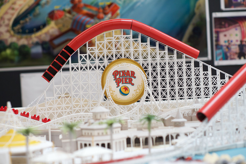 """WALT DISNEY IMAGINEERING WORKING MODEL OF PIXAR PIER –The worlds of Pixar will come to life when Pixar Pier opens June 23, 2018 at Disney California Adventure park. This working model created by Walt Disney Imagineers showcases the Incredicoaster and the four new neighborhoods, inspired by Disney•Pixar's """"The Incredibles,"""" """"Toy Story,"""" """"Inside Out"""" and a collection of guest-favorite Pixar stories. (Aaron Poole/Disneyland Resort)"""