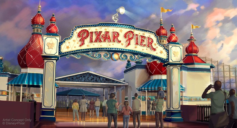 """PIXAR PIER MARQUEE AT DISNEY CALIFORNIA ADVENTURE (ANAHEIM, Calif.) – When Pixar Pier opens on June 23 at Disney California Adventure park, guests will enter the permanent new land through a dazzling new Pixar Pier marquee. This reimagined land will feature four whimsical neighborhoods representing beloved Pixar stories with newly themed attractions, foods and merchandise. The Pixar Pier marquee will be topped with the iconic Pixar lamp later in the year. (Disney•Pixar/Disneyland Resort)<br /> <br /> When Pixar Pier opens June 23 at Disney California Adventure park, guests will discover a new hot spot at the Lamplight Lounge. This seaside lounge will be an elegant yet fun gathering place for the whole family, located at the entrance of Pixar Pier. And I am excited to answer the question on everyone's mind: It will serve the guest-favorite Lobster Nachos!<br /> <br /> Lamplight Lounge will serve California casual gastro-pub cuisine that is playfully presented along with unique signature cocktails. This seaside lounge contains a full bar with picturesque waterfront views from both upstairs and downstairs. At night, outdoor seating provides views of the illuminated Pixar Pier and """"World of Color.""""<br /> <br /> Renovated from an old warehouse factory, the location has kept many features of the original two-story building. The steel structural elements as well as concrete and brick walls were exposed and repaired to tell the story of its past. The original wood boards from the factory were refinished and given new life as ceiling panels and floors. The furniture style echoes a relaxed feel and the end result is an open, airy and bright place that is organic yet sophisticated.<br /> <br /> Lamplight Lounge celebrates the creativity, inspirations and personalities of the artists and storytellers who have brought Pixar stories to life. Guests will discover the artistic marks that the Pixar """"regulars"""" have left throughout the lounge: concept art, a quick sketch on a napkin, """