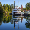 FRONTIERLAND — The Mark Twain Riverboat and Big Thunder Mountain are reflected in the Rivers of America in Frontierland at Disneyland Park in Anaheim, Calif. Frontierland brings to life the natural beauty, excitement and promise of the American West in the 1800s. For editorial news use only. (Paul Hiffmeyer/Disneyland)