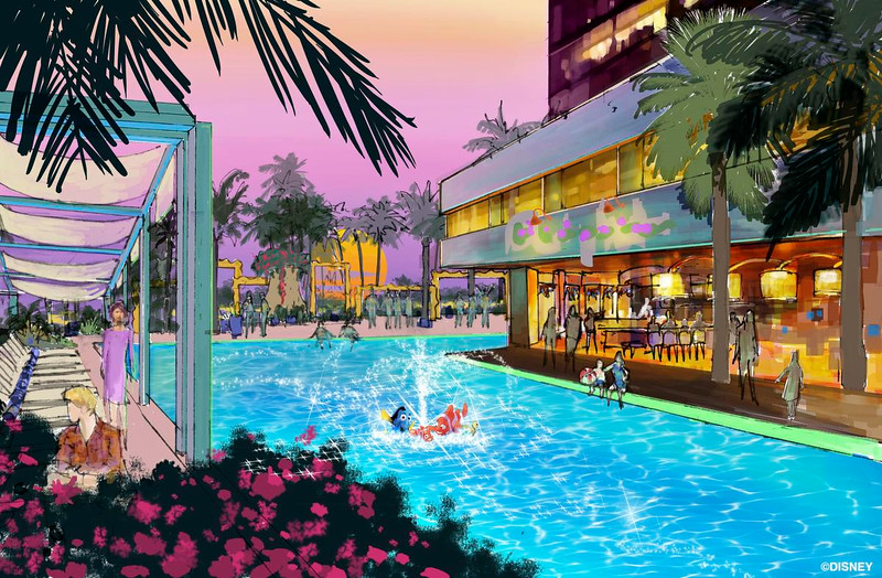 "Concept art of the swimming pool area of the proposed new hotel at the Disneyland Resort. The approximately 700 room hotel will be located on 10 acres on what is currently the Downtown Disney parking lot. The proposed hotel would be a AAA ""Four-Diamond"" hotel.<br /> <br /> //// ADDITIONAL INFORMATION: Concept art of the proposed new hotel at the Disneyland Resort. The approximately 700 room hotel will be located on 10 acres on what is currently the Downtown Disney parking lot. The proposed hotel would be a AAA ""Four-Diamond"" hotel.  -  Date of photo: 06/06/16 - disney.newhotel -- Photo by: COURTESY, THE DISNEYLAND RESORT"