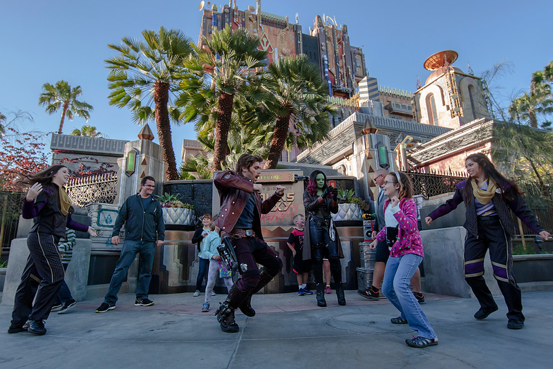 "'GUARDIANS OF THE GALAXY: AWESOME DANCE OFF!' — Guests can boogie with the cosmic heroes Star-Lord and Gamora during ""Guardians of the Galaxy: Awesome Dance Off!"" at Disney California Adventure Park. Guests will find excitement throughout Hollywood Land during Summer of Heroes with the Avengers Training Initiative featuring Black Widow and Hawkeye, and heroic encounters with Black Widow, Captain America and Spider-Man. (Joshua Sudock/Disneyland Resort)"