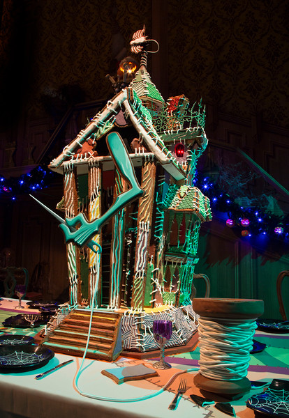 "HAUNTED MANSION HOLIDAY GINGERBREAD HOUSE – Now through Jan. 8, 2017, Haunted Mansion Holiday brings the frightfully fun cheer of ""Tim Burton's Nightmare Before Christmas"" to the Disneyland Resort. This year's gingerbread house marks the 15th season of this festive tradition in the mansion's ballroom. (Scott Brinegar/Disneyland)"