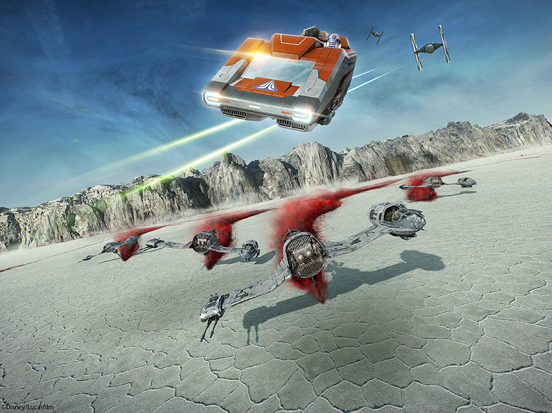 Starspeeder Flight Through Crait on Star Tours The Adventures Continue coming to Disney Parks