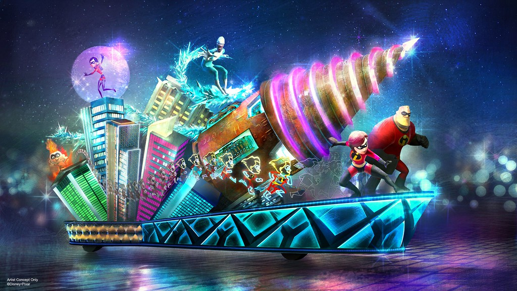 INCREDIBLES float will finally debut in PAINT THE NIGHT parade at Disneyland!
