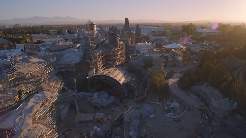 New STAR WARS: GALAXY'S EDGE aerial flyover plus listen to new original John Williams music!