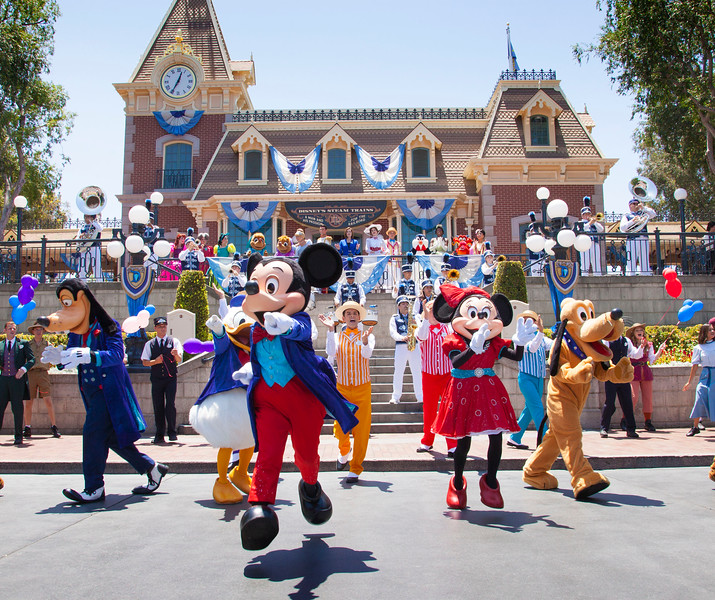 CELEBRATING WHERE THE MAGIC BEGAN (July 17, 2016) - The Disneyland Resort marked its 61st anniversary with a special celebration featuring 61 Disney characters in Town Square at Disneyland park on Sunday, July 17, exactly 61 years after Walt Disney opened the gates of the first Disney theme park. The Disneyland Resort Diamond Celebration continues through September 5, 2016. (Scott Brinegar/Disneyland Resort)