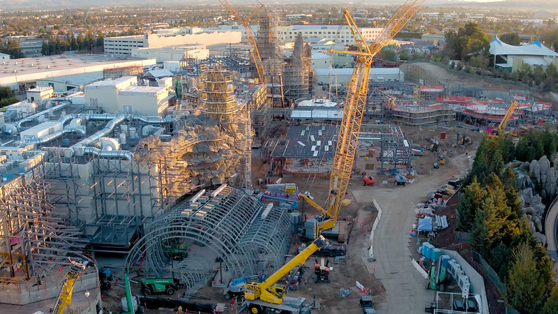 WATCH: Flyover view of STAR WARS: GALAXY'S EDGE construction site at Disneyland