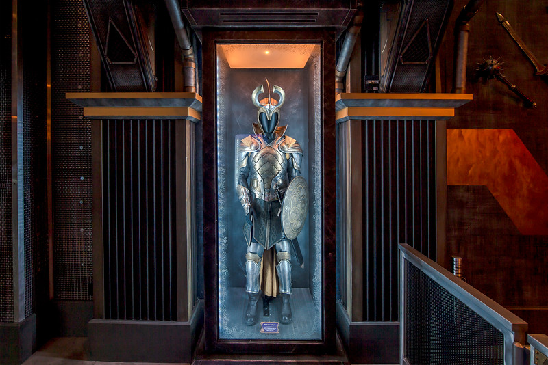 "Guardians of the Galaxy–Mission: BREAKOUT! —Asgardian armor is just one of the artifacts from the Super Hero universe guests will discover as they tour the Tivan Collection at the Guardians of the Galaxy – Mission: BREAKOUT! attraction at Disney California park. The epic new adventure blasts guests straight into the ""Guardians of the Galaxy"" story for the first time, alongside characters from the blockbuster films and comics.  (Joshua Sudock/Disneyland Resort)"