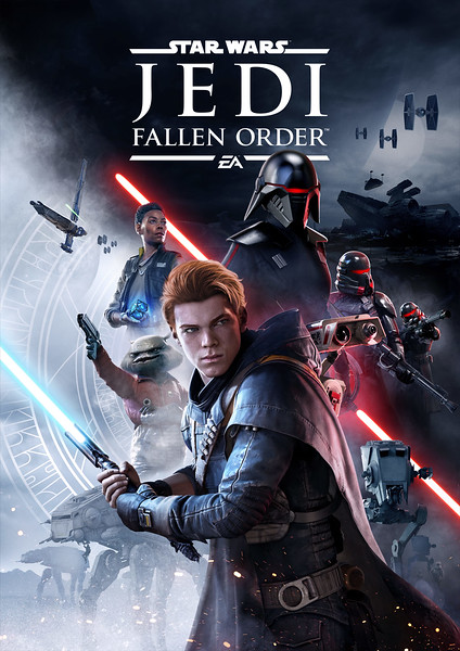 STAR WARS JEDI: FALLEN ORDER keyart features holocron that you can buy in Star Wars: Galaxy's Edge
