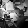 "Supervising Animator Mike Show drawing with a banana-""Hercules""; 1996"