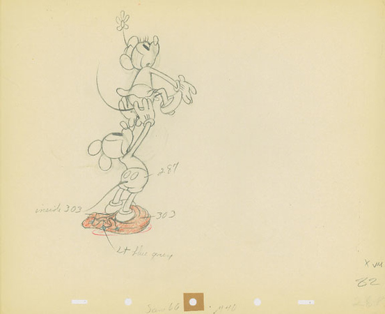 """Mickey and Minnie from """"Camping Out"""" 1934, original production drawing"""