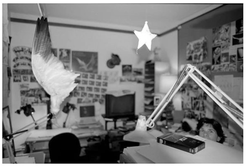 """Supervising Animator Ellen Woodbury in her office; 1996 (She's in the lower right corner). Ellen animated Pegasus in """"Hercules"""", which explains the wing(for study). She was also the Supervising Animator of Zazu in """"The Lion King"""". Ellen is now a sculptress our in Colorado...a very talented person!"""