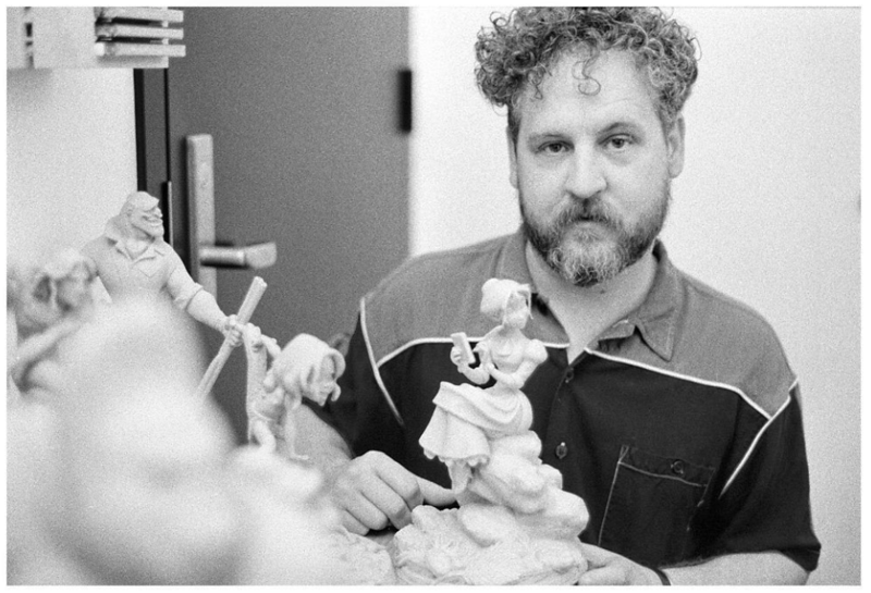 "Master sculptor Kent Melton, with his Jane and other sculpts for ""Tarzan""; 1998 Kent sculpted most characters on the 2D films we created in the 90's. He would also create sculpts for ""The Incredibles"" with Brad Bird and many other films. Kent was masterful at translating a 2D design(drawing) into a 3 dimensional sculpt while capturing an animator's pose and the character's personality. He's an amazing painter as well!"