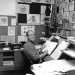 Treasure Planet: supervising Animator Glen Keane <br /> circa 2001<br /> I would occasionally walk around and take photos of folks with my Rolleiflex camera.<br /> Glen was in the middle of animating a Silver scene.<br /> Ah, old telephones, CD and music boxes