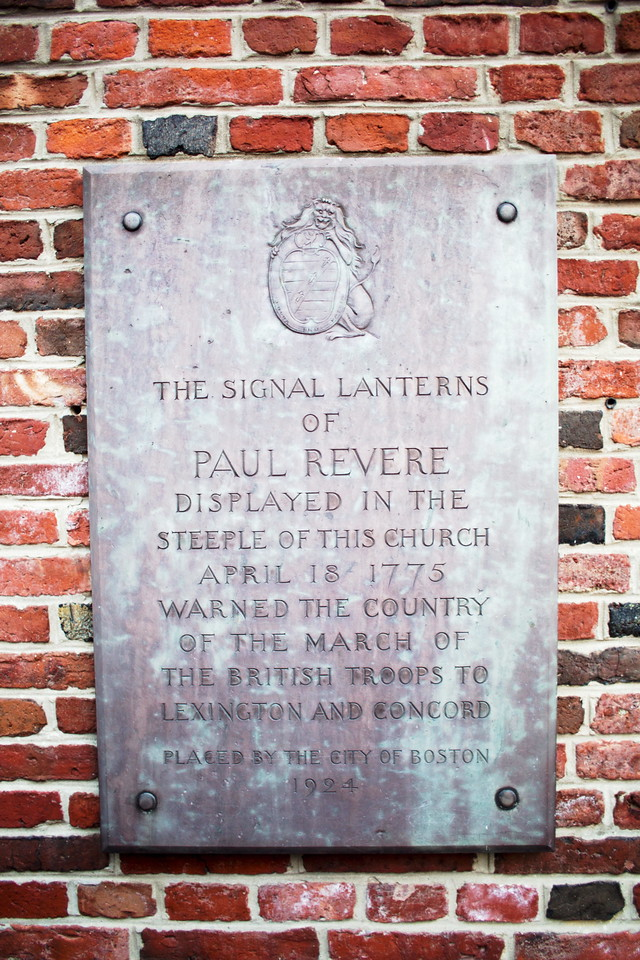 Paul Revere marker at the Old North Church in Boston, showing brick detail. Photo by Victor Grigas, copyright 2013, used under the Creative Commons Attribution-Share Alike 3.0 Unported license.