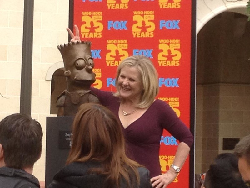 Ay Caramba! Voice over artist Nancy Cartwright displaying painting and sculptures during #SDCC