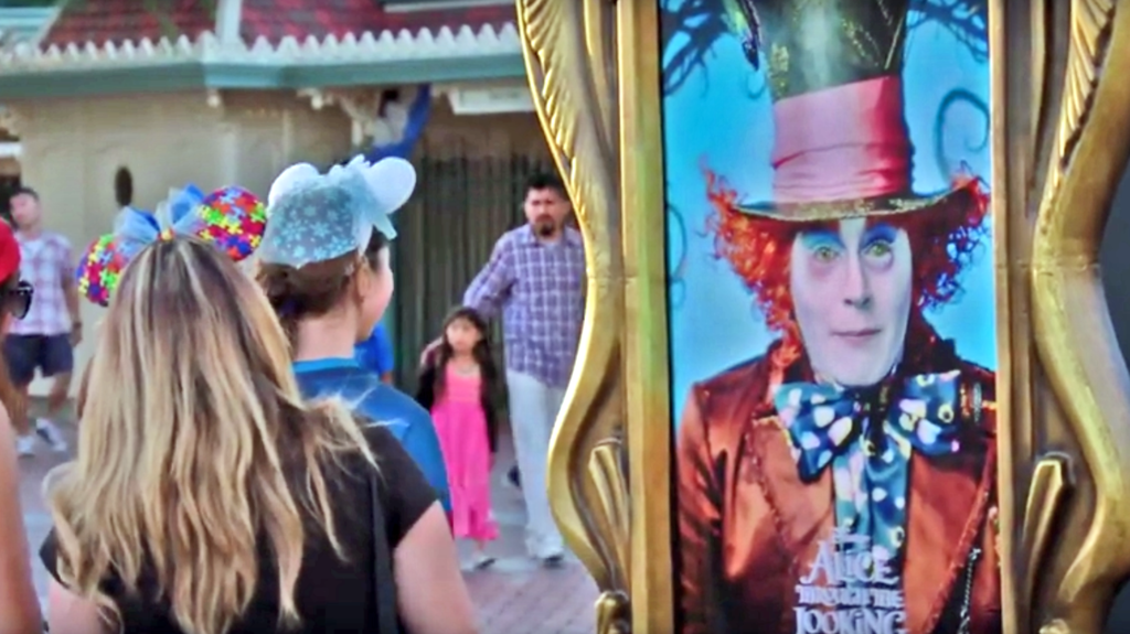 Johnny Depp surprises Disneyland guests with ALICE THROUGH THE LOOKING GLASS stunt