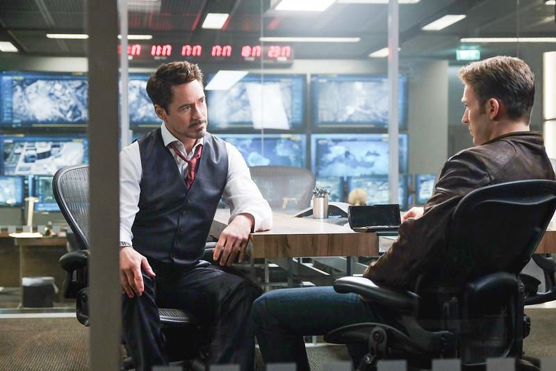 Marvel's Captain America: Civil War<br /> <br /> L to R: Tony Stark/Iron Man (Robert Downey Jr.) and Steve Rogers/Captain America (Chris Evans)<br /> <br /> Photo Credit: Zade Rosenthal<br /> <br /> © Marvel 2016