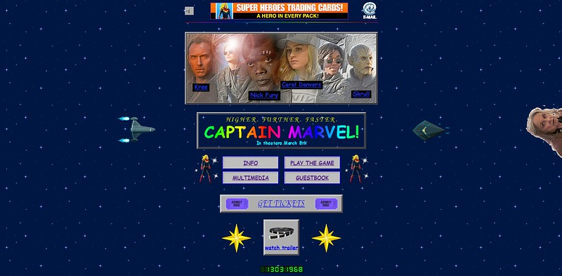 CAPTAIN MARVEL unveils totally 90s web-design website and it's AMAZING