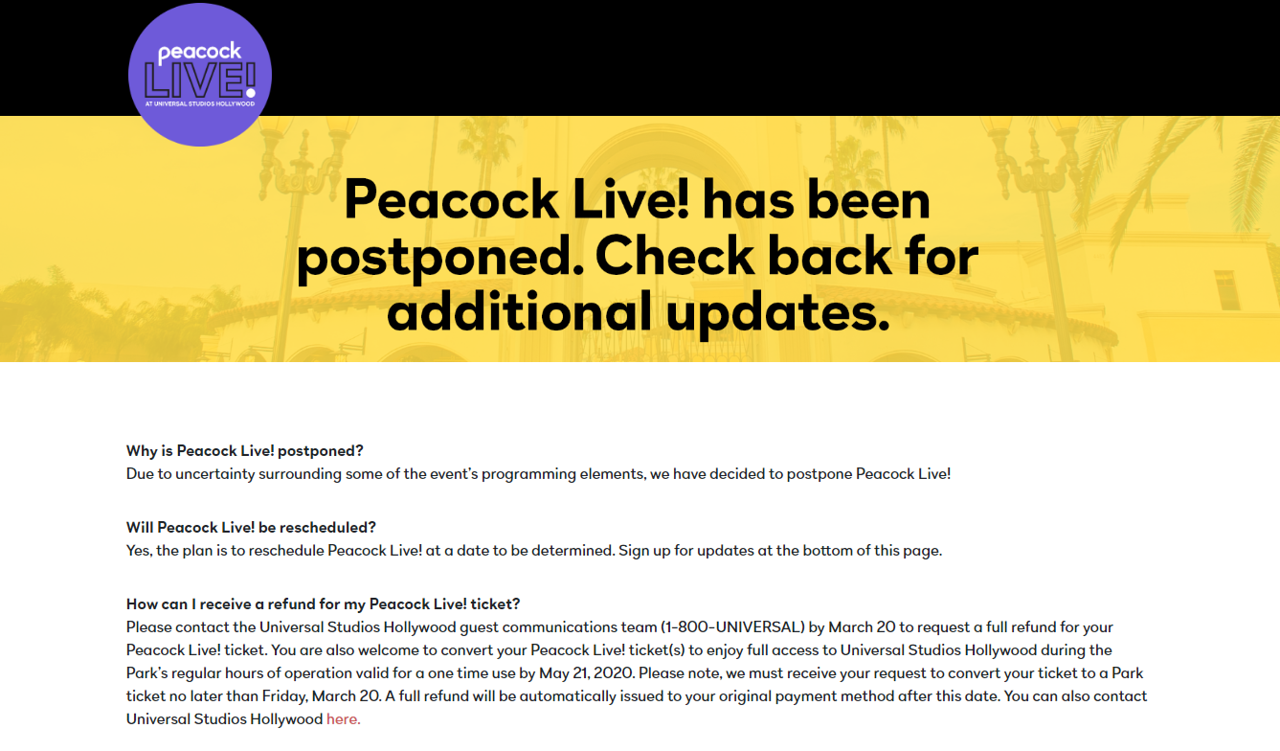 POSTPONED: 'Peacock Live!' event at Universal Studios Hollywood aims to reschedule