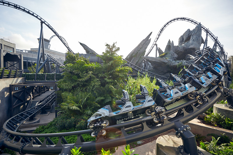 21-52184 PUB21 P791 Stills 033121<br /> Jurassic World Velocicoaster new attraction in Jurassic Park at Islands of Adventure<br /> JP<br /> IOA<br /> JWVC<br /> Publicity shoot for grand opening announcement GO<br /> Paddock Viewing Wall (Exterior)