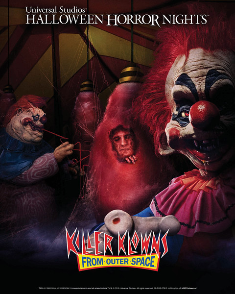 """Metro Goldwyn Mayer's (MGM) """"Killer Klowns from Outer Space"""" lands at this year's """"Halloween Horror Nights"""" in all-new chilling mazes at Universal Studios Hollywood and Universal Orlando Resort."""