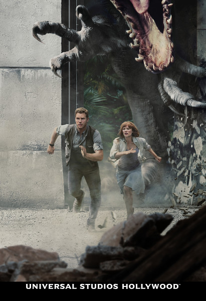 """Stars of the JURASSIC WORLD films Chris Pratt, Bryce Dallas Howard and BD Wong reprise their roles as Owen Grady, Claire Dearing and Dr. Henry Wu, bringing their characters from the silver screen to Universal Studios Hollywood's much anticipated mega attraction, """"Jurassic World—The Ride,"""" opening this summer."""