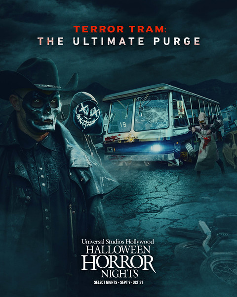 """""""Terror Tram: The Ultimate Purge"""" maze at Halloween Horror NIghts 2021 at Universal Studios Hollywood (select nights September 9 - October 31)"""