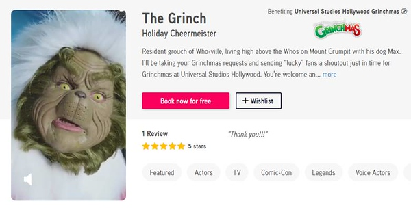 THE GRINCH is taking your Grinchmas requests for free on Cameo for a limited time