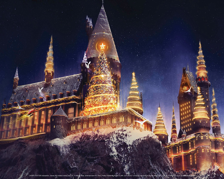 "Hogwarts castle at ""Christmas in The Wizarding World of Harry Potter"" at Universal Studios Hollywood."