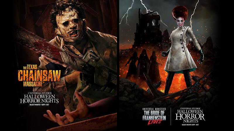 Texas Chainsaw Massacre and maze Universal Monsters Bride of Frankenstein Lives maze at HHN 2021