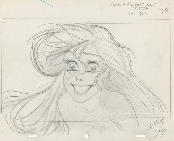 Glen Keane<br /> Rough animation drawing, 1989<br /> The Little Mermaid (1989)<br /> Graphite on paper<br /> Courtesy of the Walt Disney Animation Research Library, ©Disney<br /> IL2018.1.5