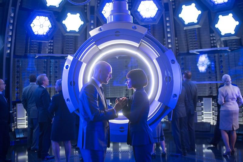 Marvel's Ant-Man<br /> <br /> L to R: Darren Cross (Corey Stoll) and Hope Van Dyne (Evangeline Lilly)<br /> <br /> Photo Credit: Zade Rosenthal<br /> <br /> © Marvel 2014