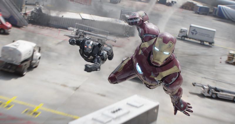Marvel's Captain America: Civil War<br /> <br /> L to R: War Machine/James Rhodes (Don Cheadle) and Iron Man/Tony Stark (Robert Downey Jr.)<br /> <br /> Photo Credit: Film Frame<br /> <br /> © Marvel 2016