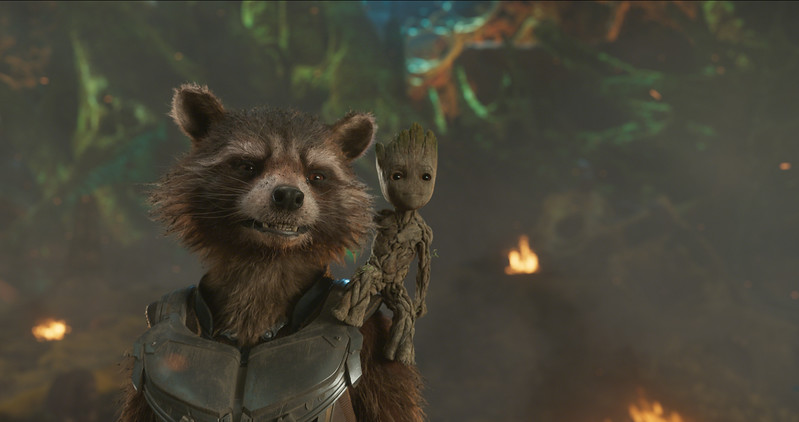 Guardians Of The Galaxy Vol. 2<br /> <br /> L to R: Rocket (Voiced by Bradley Cooper) and Groot (Voiced by Vin Diesel)<br /> <br /> Ph: Film Frame<br /> <br /> ©Marvel Studios 2017