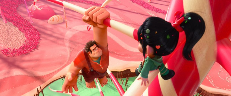 """WRECK-IT RALPH""   (L-R) RALPH and VANELLOPE VON SCHWEETZ in the video game world of Sugar Rush. ©2012 Disney. All Rights Reserved."