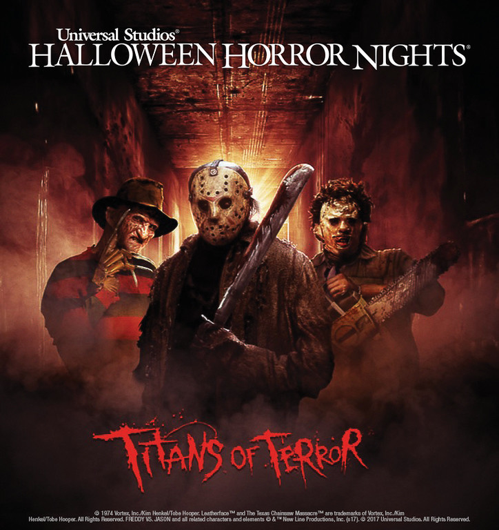 "Freddy Krueger, Jason Voorhees and Leatherface are the ""Titans of Terror,"" Universal Studios Hollywood's Terrifying New Slasher Film Maze Debuting at this Year's ""Halloween Horror Nights,"" Beginning Friday, September 15."